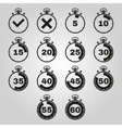 The stopwatch icon set of 14 icons Clock and vector image vector image