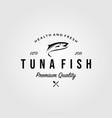 tuna fish logo premium vintage retro label seafood vector image vector image