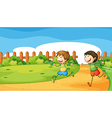 Two boys playing inside the wooden fence vector image vector image