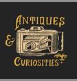 vintage camera antique shop label or golden badge vector image