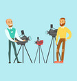 young man choosing camcorder with shop assistant vector image vector image