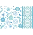 Set of seamless pattern with flowers with vector image