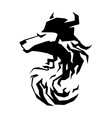 Wolf head tribal art tattoo emblem vector image