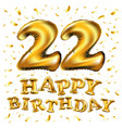 22 anniversary celebration with brilliant gold vector image vector image