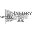 battery sizes and types text word cloud concept vector image vector image