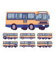 bus orange-blue set vector image vector image