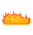 car on fire traffic accident on white background vector image