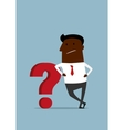 Cartoon african businessman leaning on question vector image vector image