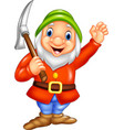 cartoon happy dwarf miner vector image vector image