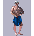 cartoon stripteaser man in a hat and shorts vector image vector image