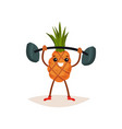 cheerful pineapple holding barbell over his head vector image vector image