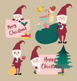collection of flat santa clause vector image vector image