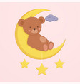 cute bear is sitting on moon vector image vector image