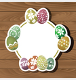 easter eggs on wood background 0102 vector image vector image