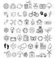 eco doodle icon set vector image vector image