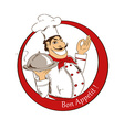 Emblem of cartoon Chef vector image