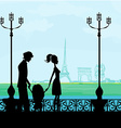 family in Paris with the Eiffel Tower vector image vector image