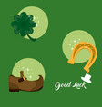 good luck and saint patricks day symbols vector image