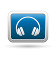 headphones icon on blue with silver rectangle vector image