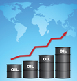 increasing price oil with world map background vector image vector image