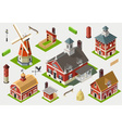 Isometric Great American Barn Set Tiles vector image