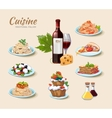 Italian cuisine icons set in cartoon style vector image
