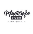 manicure studio nail master logo beauty vector image vector image