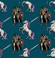 medieval knight and unicorn seamless pattern vector image