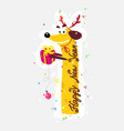 nice yellow dog chinese new year and christmas vector image vector image