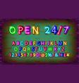 open 24 hours neon font vector image