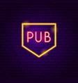 pub neon label vector image