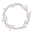 purple green lavender flowers wreath arrangement vector image