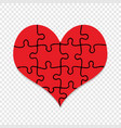 red puzzle heart symbol isolated valentines day vector image