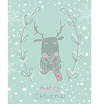 Reindeer Christmas greeting card vector image