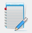 Remember blank diary with a blue pencil vector image