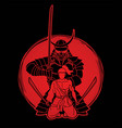 samurai composition with swords cartoon graphic vector image vector image