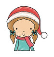 scribble christmas upperbody little girl vector image vector image