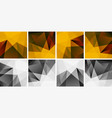 set abstract geometric backgrounds yellow red vector image