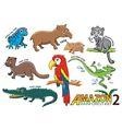 set cute cartoon animals and birds in amazo vector image vector image
