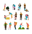 Set of garden people flat design isolated vector image