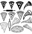 set pizza design elements for poster card banner vector image