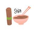 soba cooking set raw and boiled buckwheat soba vector image vector image