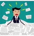 Stressed cartoon businessman in pile of papers vector image vector image