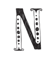 The vintage style letter N vector image