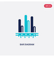 two color bar diagram icon from business concept vector image