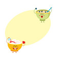 two funny bowl characters - cottage cheese vector image