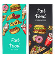 vertical banners or flyers with fast food vector image
