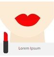 Woman face with big thick red lips and neck vector image vector image