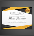 yellow and black geometric certificate award vector image vector image