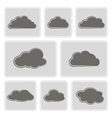 monochrome icons with clouds vector image